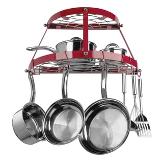 Range Kleen Two-shelf Wall-mount Red Pot Rack