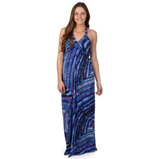 Sangria Women's Shirred Bodice Print Maxi Dress