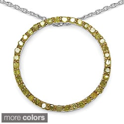 Malaika Sterling Silver 2/5ct TDW Blue Diamond Circle Necklace