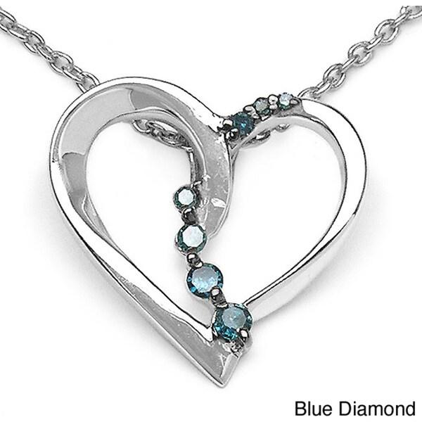 Malaika Sterling Silver 1/10ct TDW Diamond Heart Necklace
