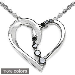 Malaika Sterling Silver 1/10ct TDW Diamond Heart Necklace