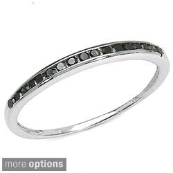 Malaika Sterling Silver 1/5ct TDW Black or Blue Diamond Ring