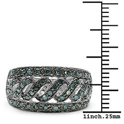 Malaika Sterling Silver 3/5ct TDW Blue Diamond Cocktail Ring