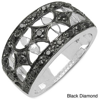 Malaika Sterling Silver Genuine 1/3ct TDW Diamond Ring