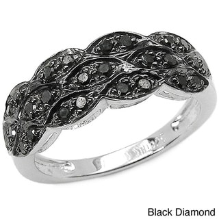 Malaika Sterling Silver 1/3ct TDW Black or Blue Color Diamond Ring