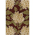 Hand-tufted Espresso Collection New Zealand Wool Rug (2'6 x 7'6)