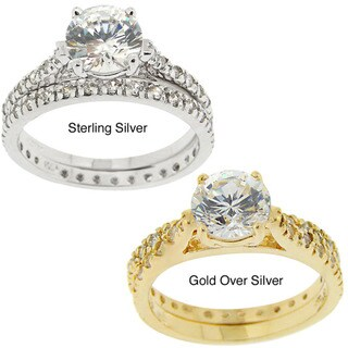 Icz Stonez Sterling Silver/ Gold Over Sterling Silver Cubic Zirconia Engagement Ring Set