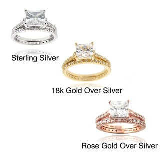 Icz Stonez Sterling Silver/ Gold Over Sterling Silver Princess-cut Cubic Zirconia Bridal-style Ring Set