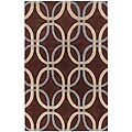 Hand-tufted Espresso New Zealand Wool Rug (5' x 7'6)