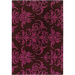 Hand-tufted Mandara Brown/ Pink Rug (5' x 7'6)