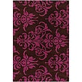 Hand-tufted Mandara Brown/ Pink Rug (5' x 7'6)