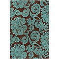 Hand-Tufted Cyan/Brown Mandara Rug (5' x 7'6)