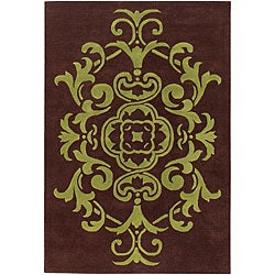 Hand-tufted Mandara Brown/ Green Wool Rug (5' x 7'6)