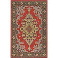 Hand-knotted Mandara Grey/ Red Wool Rug (7'9 Round)
