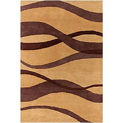 Hand-tufted Brown Wave Mandara Wool Rug (7'9 x 10'6)