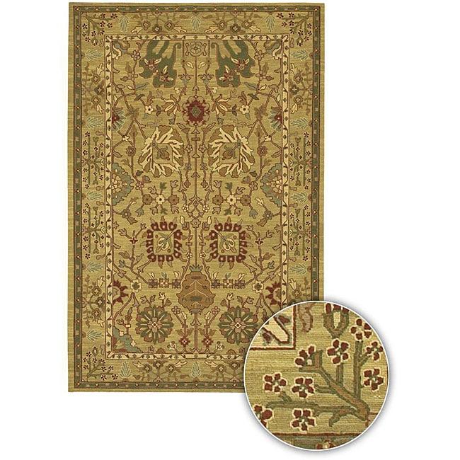 Hand-knotted Beige Mandara Wool Rug (7'9 x 10'6)
