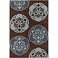 Hand-tufted Mandara Grey-Blue/ Brown Rug (7'9 x 10'6)