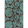 Hand-tufted Mandara Brown/ Cyan Wool Rug (7'9 x 10'6)