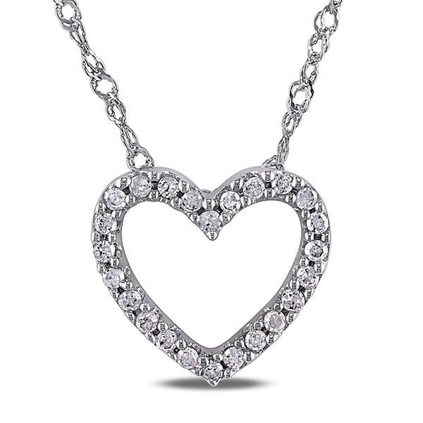 Haylee Jewels 14k White Gold 1/10ct TDW Diamond Heart Necklace