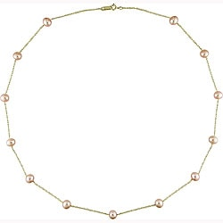 Miadora 14k Yellow Gold FW Pink Pearl Tin-cup Necklace (5-6mm)