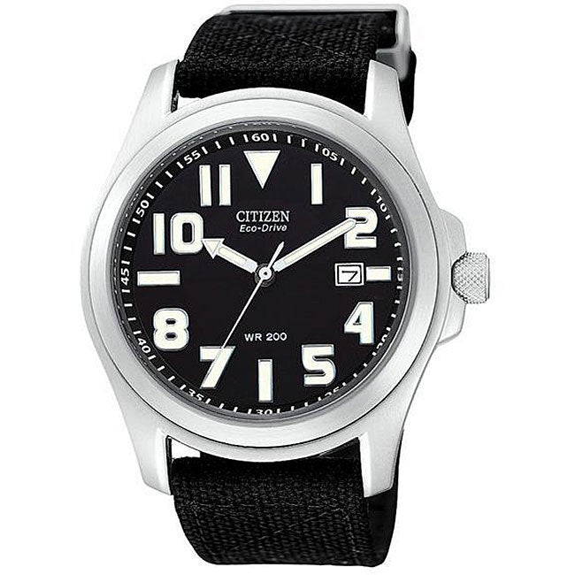 Citizen Men's Eco-Drive Black Canvas Strap Watch