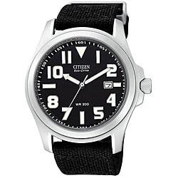 Citizen Men's Eco-Drive Black Canvas Strap Watch