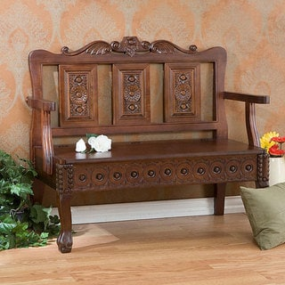 Hand-carved Mahogany Storage Settee