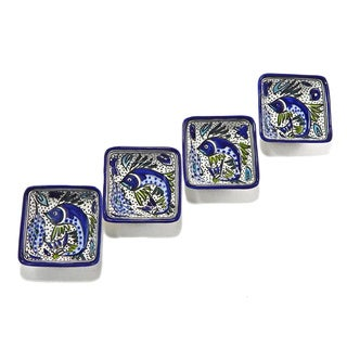 Set of 4 Aqua Fish 3-inch Square Sauce Dishes (Tunisia)
