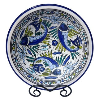 Aqua Fish 14-inch Round Serving Bowl (Tunisia)
