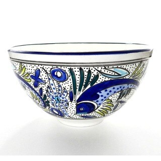 Aqua Fish 12-inch Deep Salad Bowl (Tunisia)