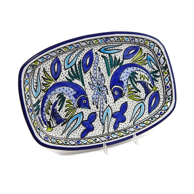Overstock.com 13-inch Aqua Fish Rectangular Platter (Tunesia) at Sears.com