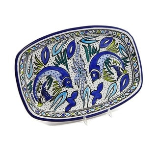 Hand-crafted 13-inch Aqua Fish Rectangular Platter (Tunesia)