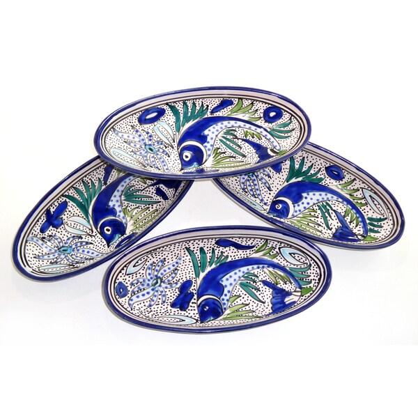 Set of 4 Aqua Fish Small 9-inch Oval Platters (Tunesia)