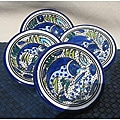 Set of 4 Aqua Fish 4-inch Round Sauce Dishes (Tunisia)