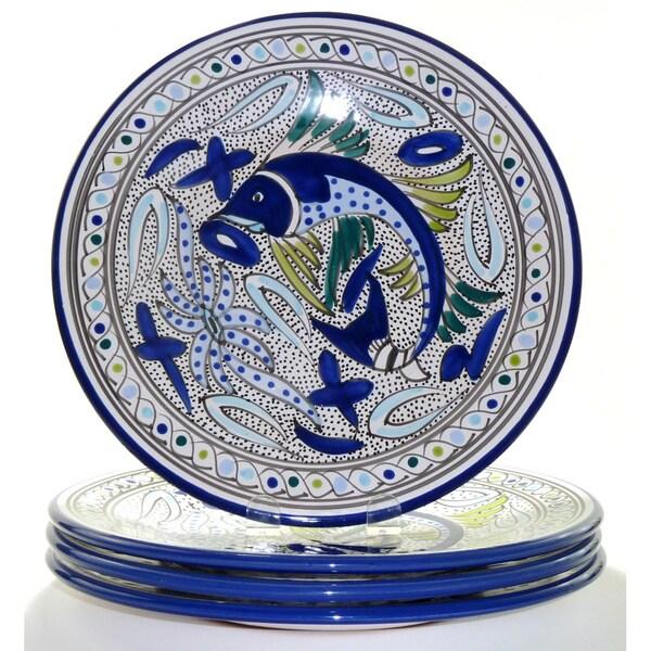 Aqua Fish 4-piece Dinner Plates (Tunisia)