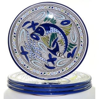 Aqua Fish 4-piece Dinner Plates (Tunisia)