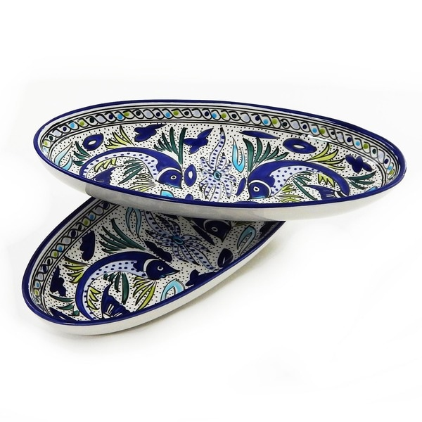 Set of 2 Aqua Fish 16-inch Large Oval Platters (Tunisia)
