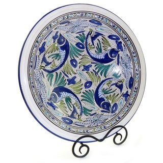 16-inch Aqua Fish Large Serving Bowl (Tunisia)