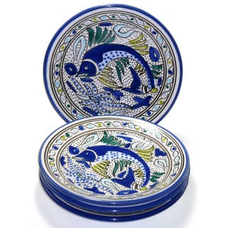 Set of Four 8-inch Aqua Fish Side Plate (Tunisia)