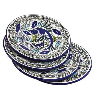 Set of Four 8-inch Aqua Fish Side Plate (Tunisia)