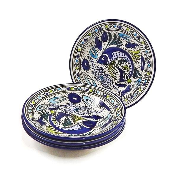 Set of 4 Aqua Fish Pasta/ Salad Bowls (Tunisia)