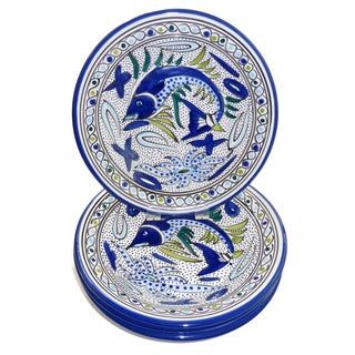 Set of 4 Aqua Fish Pasta/ Salad Bowls (Tunisia)