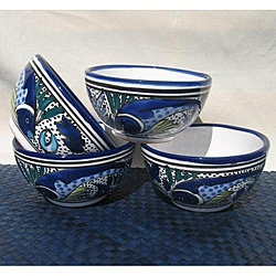 Set of 4 Aqua Fish Soup/ Cereal Bowls (Tunisia)