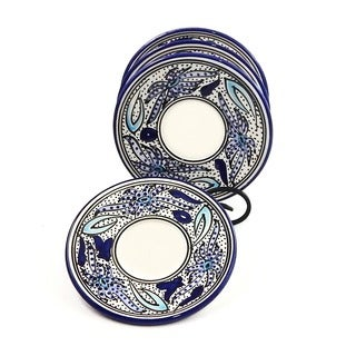 Set of 4 Aqua Fish Saucers (Tunisia)