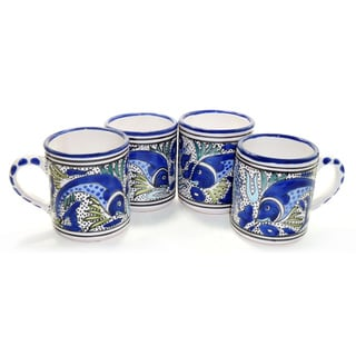 Set of Four Aqua Fish Coffee Mugs (Tunisia)
