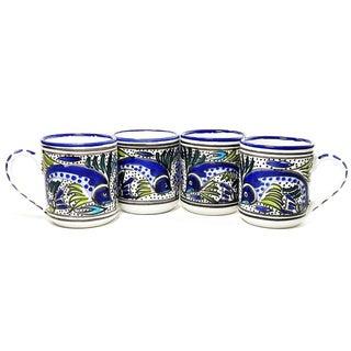 Set of Four Aqua Fish Coffee Mugs (Tunisia)