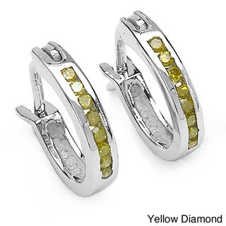Malaika Sterling Silver 1/6ct Blue or Yellow Diamond Hoop Earrings