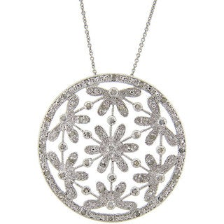 Finesque Sterling Silver 1/2ct TDW Diamond Flower Necklace (J-K, I3)