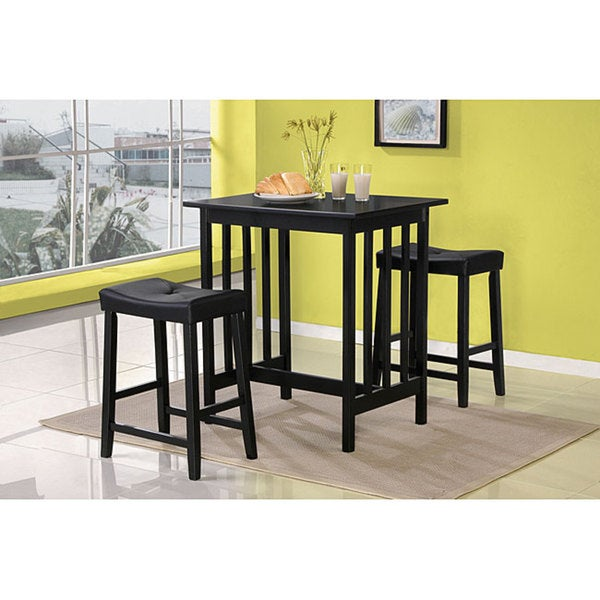 nova black 3 piece dining room table and chairs kitchen bar dining set