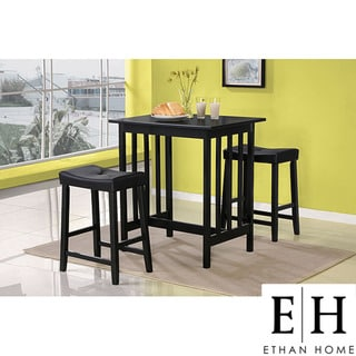 ETHAN HOME Nova Black 3-piece Kitchen Counter Height Dining Set